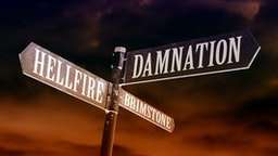 Hellfire, brimstone and damnation directions - stock photo