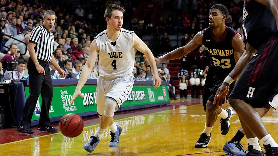 Jack Montague #4 of the Yale Bulldogs during a game against the Harvard Crimson at the Palestra on the campus of the University of Pennsylvania on March 14, 2015 in Philadelphia, Pennsylvania.