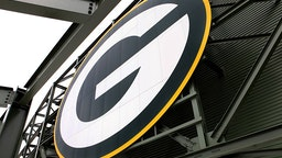Green Bay Packers logo inside Lambeau Field, home of the Green Bay Packers football team on August 31, 2015 in Green Bay, Wisconsin.