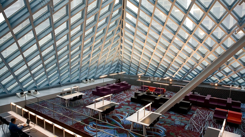 Seattle Public Library's central branch, designed by Dutch architect Rem Koolhaas of OMA.