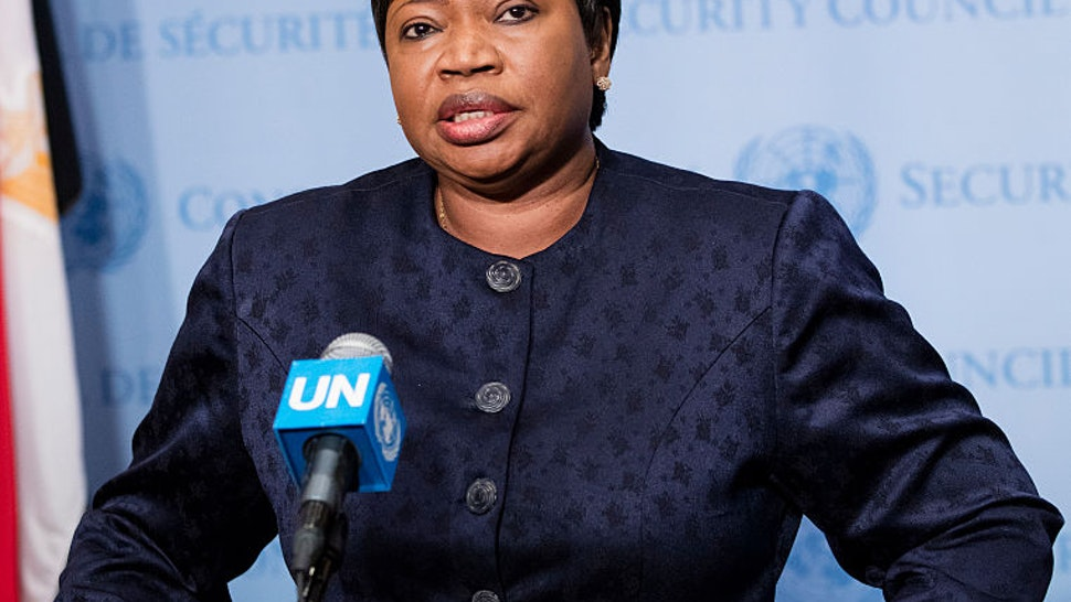 UNITED NATIONS, NEW YORK, NY, UNITED STATES - 2016/05/26: Fatou Bensouda, Prosecutor of the International Criminal Court (ICC), speaks to journalists after briefing the Security Council at its meeting on the situation in Libya today at the UN Headquarters in New York.