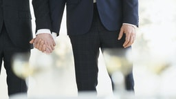 Caucasian gay grooms holding hands at wedding - stock photo