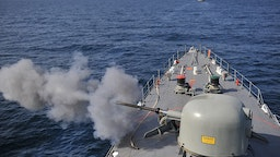 "Iranian navy conducts the ""Velayat-90"" naval wargames in the Strait of Hormuz in southern Iran on January 1, 2012."