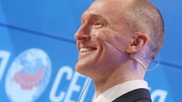 """Carter Page, Global Energy Capital LLC Managing Partner and a former foreign policy adviser to U.S. President-Elect Donald Trump, makes a presentation titled """" Departing from Hypocrisy: Potential Strategies in the Era of Global Economic Stagnation, Security Threats and Fake News"""" during his visit to Moscow."""
