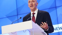 "Carter Page, Global Energy Capital LLC Managing Partner and a former foreign policy adviser to U.S. President-Elect Donald Trump, makes a presentation titled "" Departing from Hypocrisy: Potential Strategies in the Era of Global Economic Stagnation, Security Threats and Fake News"" during his visit to Moscow."