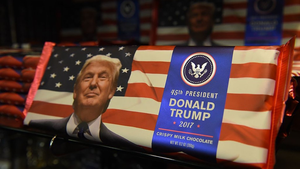 Donald Trump chocolate bars are for sale in a Washington, DC gift shop one day ahead of the inauguration of the US President-elect, January 19, 2017.