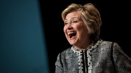 Former U.S. Secretary of State and 2016 presidential candidate Hillary Clinton laughs while speaking during BookExpo 2017 at the Jacob K. Javits Convention Center, June 1, 2017 in New York City.