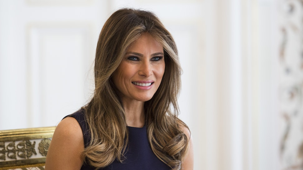 First Lady Melania Trump is pictured during a meeting with Polish President's wife Agata Kornhauser-Duda (Unseen) at the Belvedere Palace in Warsaw on July 6, 2017. US President Donald Trump is on his first visit behind the former Iron Curtain. He is expected to focus largely on defence in talks with Baltic, Balkan and central European leaders.