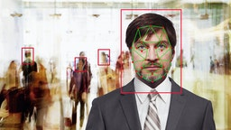 Facial recognition of Caucasian businessman - stock photo