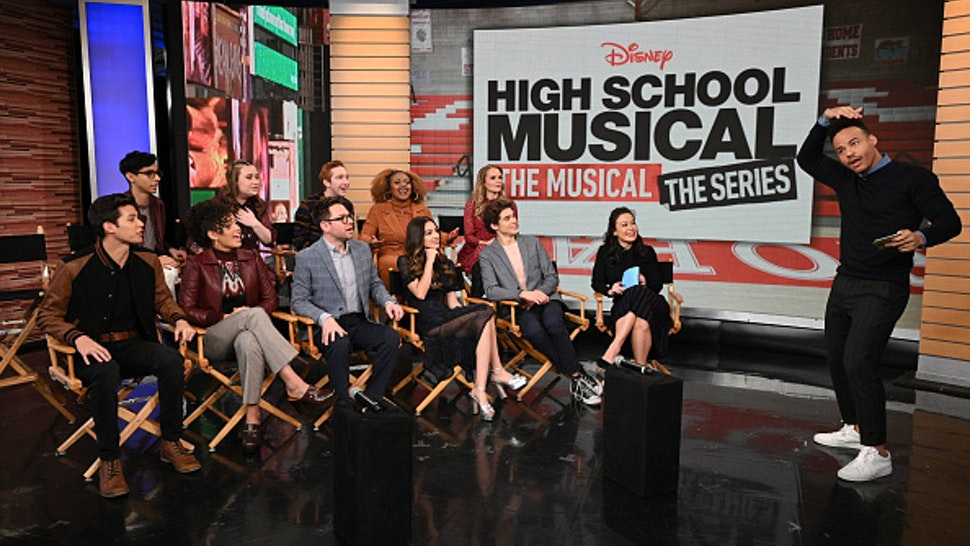 GOOD MORNING AMERICA WEEKEND - Today, Saturday, November 9, the stars of the upcoming Disney+ series High School Musical: The Musical: The Series Joshua Bassett (Ricky), Olivia Rodrigo (Nini), Sofia Wylie (Gina), Matt Cornett (E.J.), Dara Renee' (Kourtney), Frankie A. Rodriguez (Carlos), Julia Lester (Ashlyn) and Larry Saperstein (Big Red) took the stage at Good Morning America Weekend for a chat with creator / executive producer Tim Federle. The series premieres on Disney+ Tuesday, November 12.