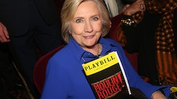 "NEW YORK, NEW YORK - DECEMBER 04: (EXCLUSIVE COVERAGE) Hillary Clinton poses at ""Moulin Rouge! The Musical"" at The Hirshfeld Theatre on December 4, 2019 in New York City."