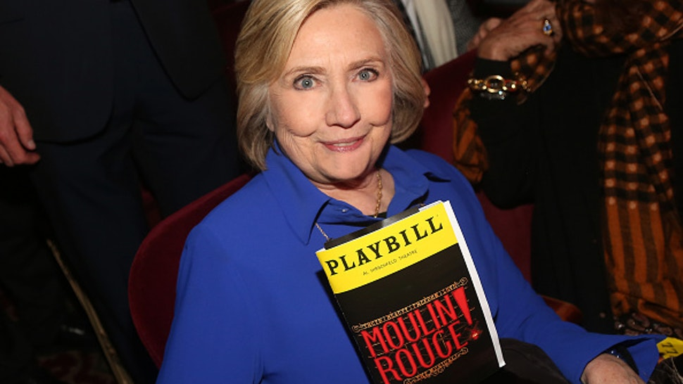 """NEW YORK, NEW YORK - DECEMBER 04: (EXCLUSIVE COVERAGE) Hillary Clinton poses at """"Moulin Rouge! The Musical"""" at The Hirshfeld Theatre on December 4, 2019 in New York City."""