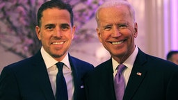 WASHINGTON, DC - APRIL 12: World Food Program USA Board Chairman Hunter Biden (L) and U.S. Vice President Joe Biden attend the World Food Program USA's Annual McGovern-Dole Leadership Award Ceremony at Organization of American States on April 12, 2016 in Washington, DC.