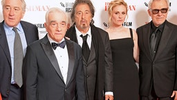 """LONDON, ENGLAND - OCTOBER 13: (L to R) Robert De Niro, Martin Scorsese, Al Pacino, Anna Paquin and Harvey Keitel attend the International Premiere and Closing Night Gala screening of NETFLIX's """"The Irishman"""" during the 63rd BFI London Film Festival at Odeon Luxe Leicester Square on October 13, 2019 in London, England."""