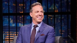 CNN's Jake Tapper during an interview with host Seth Meyers on August 15, 2019 -- (Photo by: Lloyd Bishop/NBC/NBCU Photo Bank)