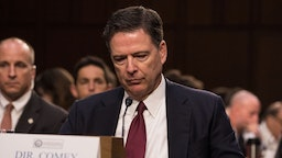 Former FBI Director James Comey testified in front of the Senate Intelligence Committee, on his past relationship with President Donald Trump, and his role in the Russian interference investigation, in the Senate Hart building on Capitol Hill, on Thursday, June 8, 2017.