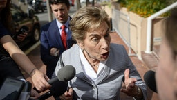 Rep. Jan Schakowsky, D-Ill., talks with reporters as she departs a meeting with other House Democrats to discuss potential border bill changes at the Democratic National Committee on Tuesday June 25, 2019.
