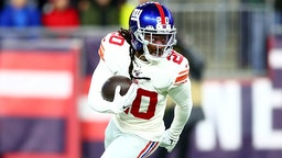 FOXBOROUGH, MASSACHUSETTS - OCTOBER 10: Janoris Jenkins #20 of the New York Giants intercepts a ball intended for Julian Edelman #11 of the New England Patriots during the first quarter in the game at Gillette Stadium on October 10, 2019 in Foxborough, Massachusetts.