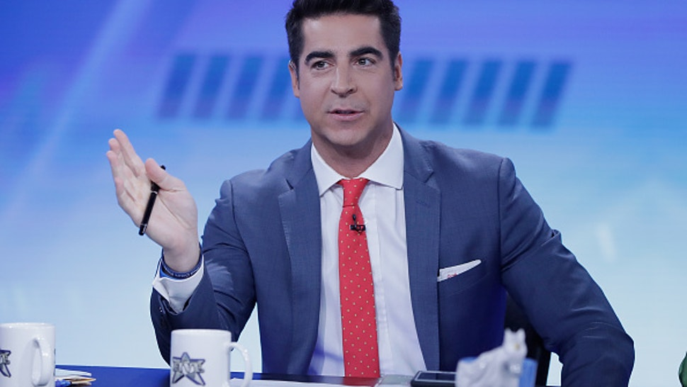 "NEW YORK, NY - NOVEMBER 13: Jesse Watters host of ""The Five"" interviews Jenna Bush Hager and Barbara Bush during ""The Five"" at Fox News Studios on November 13, 2017 in New York City."