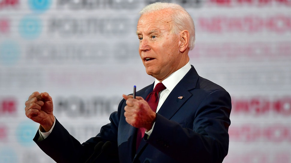 Democratic presidential hopeful former Vice President Joe Biden participates of the sixth Democratic primary debate of the 2020 presidential campaign season co-hosted by PBS NewsHour & Politico at Loyola Marymount University in Los Angeles, California on December 19, 2019.