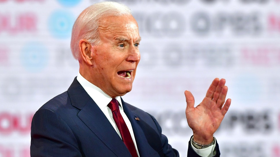 Democratic presidential hopeful former Vice President Joe Biden takes part in the sixth Democratic primary debate of the 2020 presidential campaign season co-hosted by PBS NewsHour & Politico at Loyola Marymount University in Los Angeles, California on December 19, 2019.