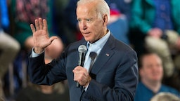 DERRY , NH - DECEMBER 30: Democratic presidential candidate, former Vice President Joe Biden speaks during a campaign Town Hall on December 30, 2019 in Derry, New Hampshire. The 2020 Iowa Democratic caucuses will take place on February 3, 2020, making it the first nominating contest for the Democratic Party in choosing their presidential candidate to face Donald Trump in the 2020 election.