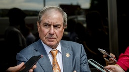 UNITED STATES - JUNE 25: Rep. John Yarmuth, D-Ky., talks with reporters as he departs a meeting with other House Democrats to discuss potential border bill changes at the Democratic National Committee on Tuesday June 25, 2019.
