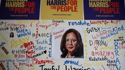 A picture of democratic presidential candidate U.S. Sen. Kamala Harris (D-CA) is displayed on a wall inside of her Oakland campaign office on December 03, 2019 in Oakland, California. Democratic presidential candidate U.S. Sen. Kamala Harris announced today that she is dropping out of the 2020 presidential race citing financial difficulties. (Photo by Justin Sullivan/Getty Images)