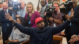 Rapper Kanye West speaks during his meeting with US President Donald Trump in the Oval Office of the White House in Washington, DC, on October 11, 2018.