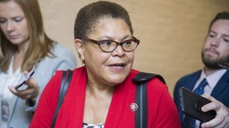 UNITED STATES - SEPTEMBER 25: Rep. Karen Bass, D-Calif., leaves a meeting with the House Democratic Caucus in the Capitol on Wednesday, September 25, 2019.