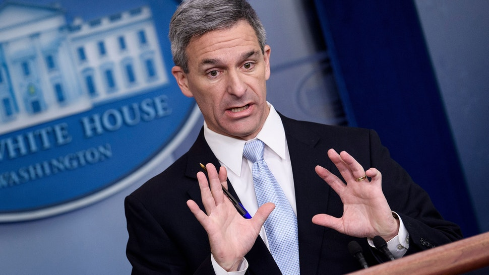 "Acting Director of the US Citizenship and Immigration Services Ken Cuccinelli speaks during a briefing at the White House August 12, 2019, in Washington, DC. - The administration of US President Donald Trump announced Monday new rules that aim to deny permanent residency and citizenship benefits to migrants who receive food stamps, Medicaid and other public welfare.Announcing a new definition of the longstanding ""public charge"" law, the White House said migrants will be blocked from entering the country if they are likely to need public assistance, and those already here will not be able to obtain green cards or US citizenship."