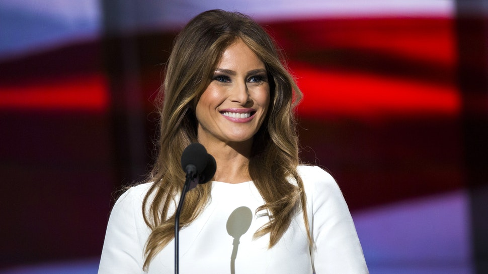 Melania Trump, wife of Republican presidential nominee Donald Trump, arrives to speak on the first day of the Republican National Convention on July 18, 2016 at the Quicken Loans Arena in Cleveland, Ohio.