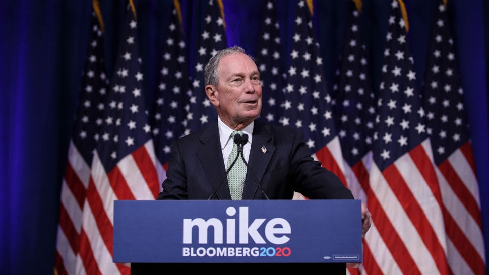 NORFOLK, VA - NOVEMBER 25: Newly announced Democratic presidential candidate, former New York Mayor Michael Bloomberg speaks at a press conference to discuss his presidential run on November 25, 2019 in Norfolk, Virginia. The 77-year old Bloomberg joins an already crowded Democratic field and is presenting himself as a moderate and pragmatic option in contrast to the current Democratic Party's increasingly leftward tilt. In recent years, Bloomberg has used some of his vast personal fortune to push for stronger gun safety laws and action on climate change.