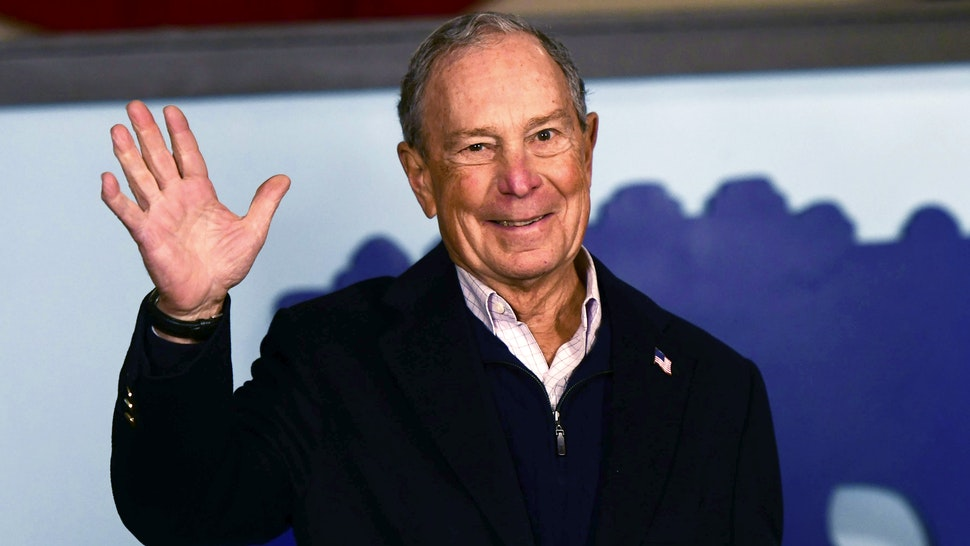 PHILADELPHIA, PA - DECEMBER 21: Democratic Presidential candidate Michael Bloomberg waves to supporters from his newly opened Philadelphia field office on December 21, 2019 in Philadelphia, Pennsylvania. The former Mayor of New York entered the race late and is not contesting the early primary states, instead concentrating efforts towards Super Tuesday and beyond, opening campaign offices today in Pennsylvania, Michigan, and Wisconsin.
