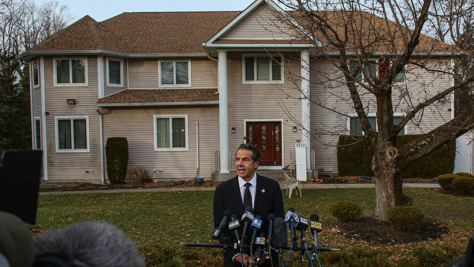 New York Governor Andrew Cuomo speaks to the media outside the home of rabbi Chaim Rottenbergin Monsey, in New York on December 29, 2019 after a machete attack that took place earlier outside the rabbi's home during the Jewish festival of Hanukkah in Monsey, New York. - An intruder stabbed and wounded five people at a rabbi's house in New York during a gathering to celebrate the Jewish festival of Hanukkah late on December 28, 2019, officials and media reports said. Local police departments, speaking to AFP, declined to give the number of people injured, but a suspect has been taken into custody and a vehicle safeguarded, an NYPD spokesman said. (Photo by Kena Betancur / AFP) (Photo by KENA BETANCUR/AFP via Getty Images)