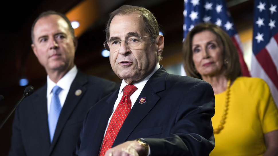 UNITED STATES - JULY 24: From left, House Intelligence Committee Chairman Adam Schiff, D-Calf., Judiciary Chairman Jerrold Nadler, D-N.Y., and Speaker Nancy Pelosi, D-Calif., conduct a news conference on the testimony of former special counsel Robert Mueller on his investigation into Russian interference in the 2016 election on Wednesday, July 24, 2019.