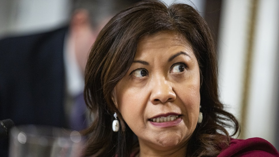 U.S. Rep. Norma J. Torres (D-CA) argues against an amendment to House Resolution 660 during a full House Rules Committee markup of the resolution at the U.S. Capitol on October 30, 2019 in Washington, DC. H.R. 660 directs certain House committees to continue their ongoing investigations as part of the continued House of Representatives impeachment inquiry of President Donald Trump and his conduct in office