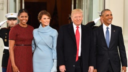 FILE: U.S. President Barack Obama, from right, U.S. President-elect Donald Trump, U.S. First Lady-elect Melania Trump, and U.S. First Lady Michelle Obama stand for a photograph outside of the White House ahead of the 58th presidential inauguration in Washington, D.C., U.S., on Friday, Jan. 20, 2017. Sunday, January 20, 2019, marks the second anniversary of U.S. President Donald Trump's inauguration. Our editors select the best archive images looking back over Trump's second year in office.