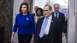 UNITED STATES - DECEMBER 10: From left, Speaker of the House Nancy Pelosi, D-Calif., House Intelligence Chairman Adam Schiff, D-Calif., Financial Services Chairwoman Maxine Waters, D-Calif., Judiciary Chairman Jerrold Nadler, D-N.Y., and Ways and Means Chairman Richard Neal, D-Mass., make their way to a news conference in the Capitol to announce articles of impeachment against President Donald Trump on Tuesday, December 10, 2019.