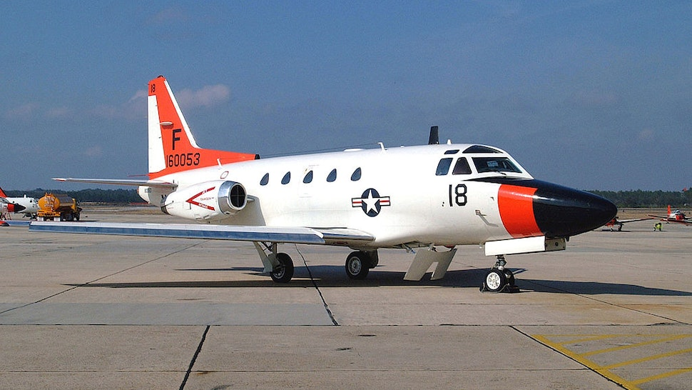 A Twin-Engine U.S. Navy T-39 Sabreliner Sits On The Tarmac May 9, 2002 At The Pensacola Naval Air Station, Fl. Two T-39S From The Training Squadron 86, Similar To This One, Crashed Into The Gulf Of Mexico May 8, 2002 With Seven Crew Members Aboard. Search And Rescue Operations Continue And No Trace Of Any Crew Members Has Been Found Amid Four Debris Fields. (Photo By U.S. Navy/Getty Images)