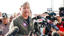 Commanding Officer Timothy F. Kinsella Jr speaks at a press conference following a shooting on the Pensacola Naval Air Base on December 06, 2019 in Pensacola, Florida. The second shooting on a U.S. Naval Base in a week has left three dead plus the suspect and seven people wounded.