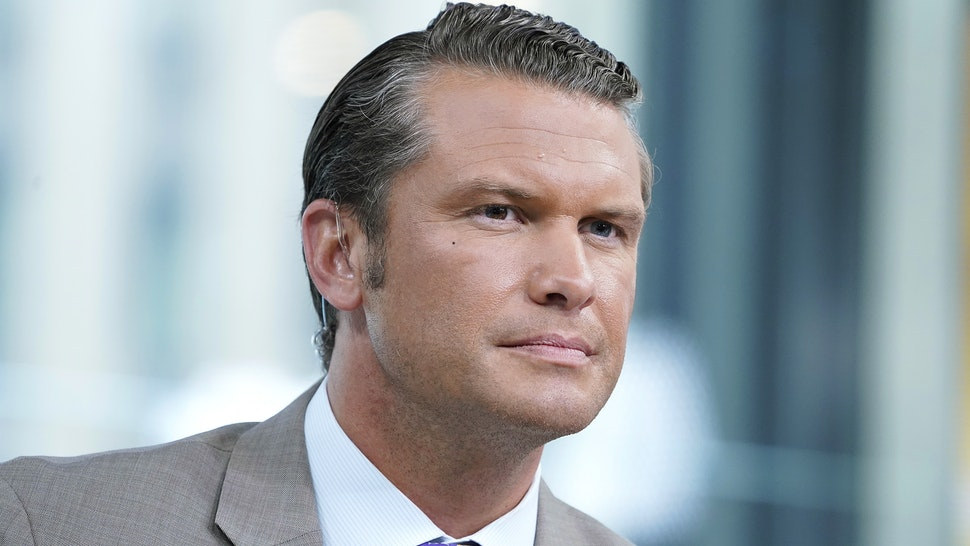 """Fox anchor Pete Hegseth interviews entrepreneur and venture capitalist Peter Thiel during """"FOX & Friends"""" at Fox News Channel Studios on August 09, 2019 in New York City."""