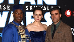 """John Boyeg, Daisy Ridley and Oscar Isaac attend """"Star Wars: The Rise of Skywalker"""" European Premiere at Cineworld Leicester Square on December 18, 2019 in London, England. (Photo by Dave J Hogan/Getty Images)"""