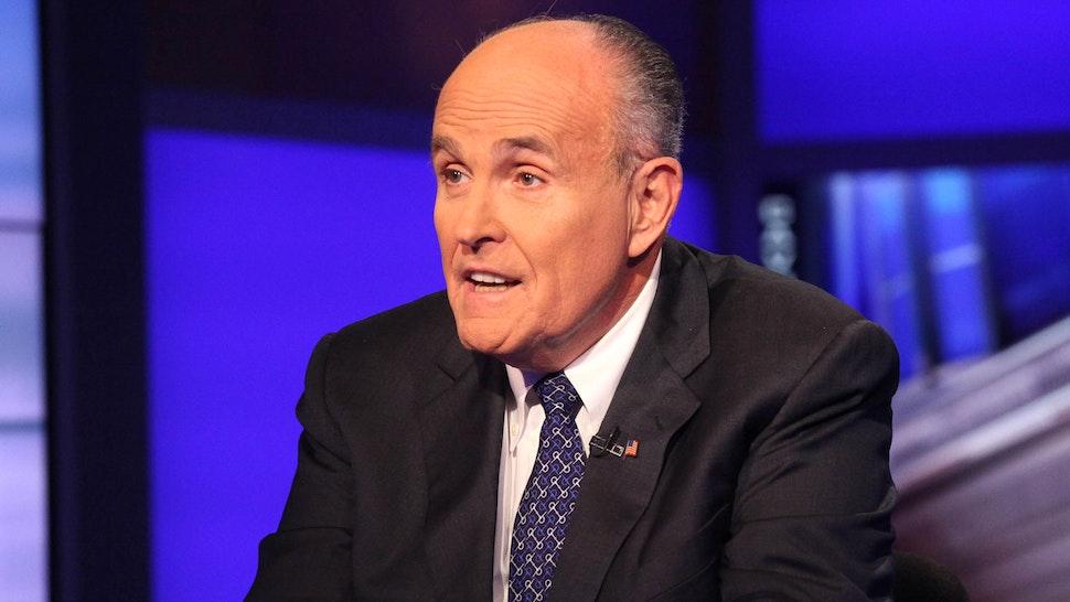 "NEW YORK, NY - SEPTEMBER 23: Rudy Giuliani visits ""Cavuto"" On FOX Business Network at FOX Studios on September 23, 2014 in New York City."