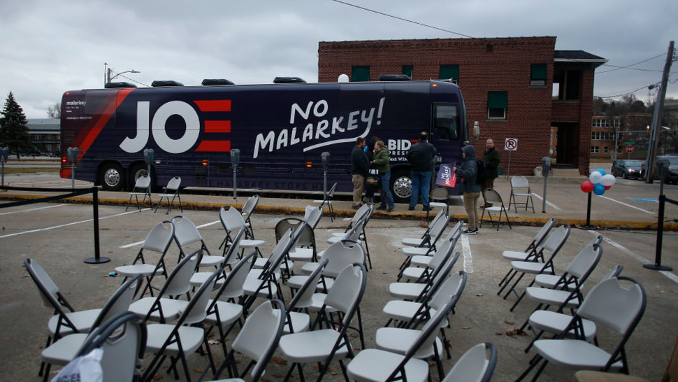 The bus of Democratic presidential candidate, former Vice President Joe Biden sits in a parking lot after a campaign event on November 30, 2019 in Council Bluffs, Iowa.