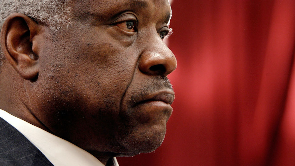 U.S. Supreme Court Justice Clarence Thomas testifies before the House Financial Services and General Government Subcommittee on Capitol Hill March 13, 2008 in Washington, DC.