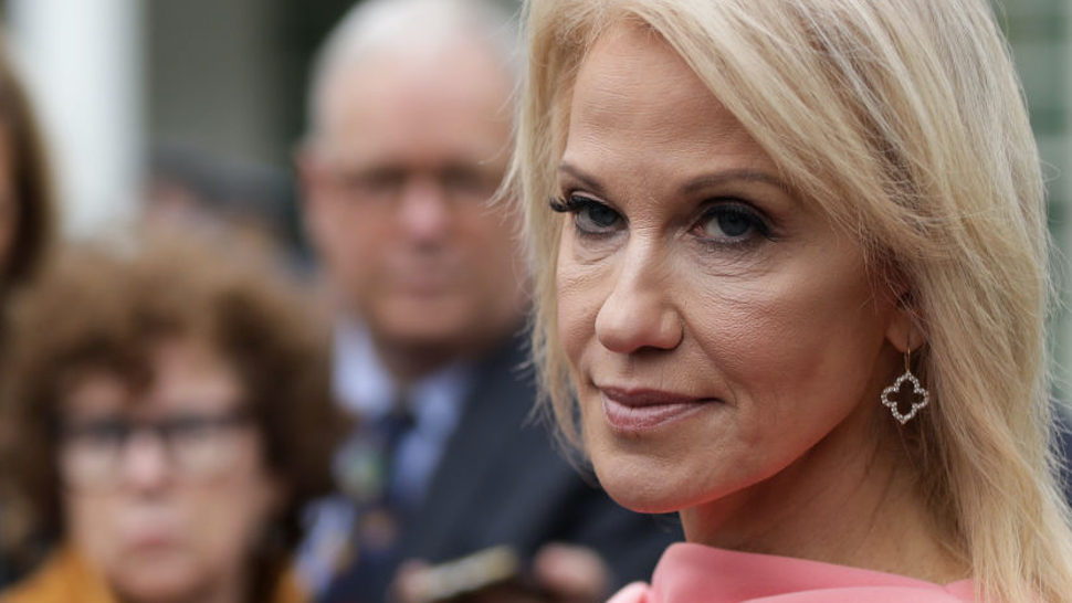 White House senior counselor Kellyanne Conway speaks to members of the media outside the West Wing of the White House November 7, 2019 in Washington, DC. Conway spoke to the media after a TV interview.