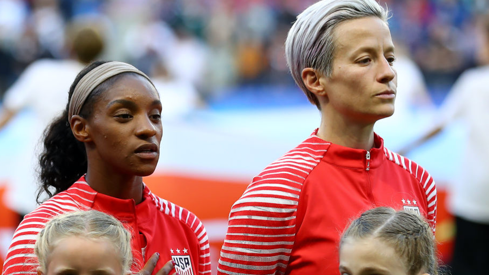 Megan Rapinoe of the USA refuses to sing the national anthem out of protest prior to the 2019 FIFA Women's World Cup France group F match between Sweden and USA at Stade Oceane on June 20, 2019 in Le Havre, France.