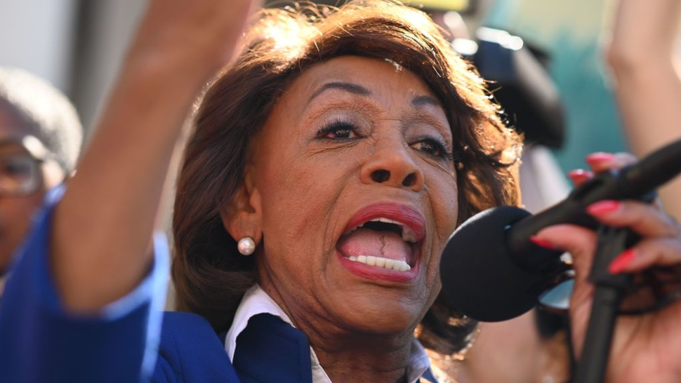 .S. Rep. Maxine Waters (D-Calif.) speaks at a protest against U.S. President Donald Trump's National Emergency declaration, February 18, 2019, outside City Hall in Los Angeles, California.