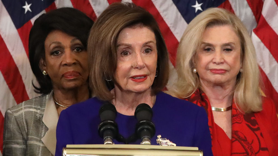 Speaker of the House Rep. Nancy Pelosi (D-CA) (C) speaks as Chairwoman of House Financial Services Committee Rep. Maxine Waters (D-CA) (L) and Chairwoman of House Oversight and Reform Committee Rep. Carolyn Maloney (D-NY) (R) listen during a news conference at the U.S. Capitol December 10, 2019 in Washington, DC.